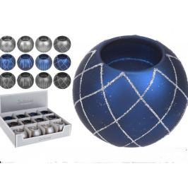 Svícen na čajovou svíčku koule Pretty sklo modrá 80 mm 1 kus