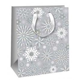 Ditipo Dárková papírová taška Glitter šedá vločky 26,4 x 13,6 x 32,7 cm