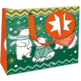 Nekupto Dárková papírová taška luxusní malá 18 x 16 cm Vánoční WLIS 1740