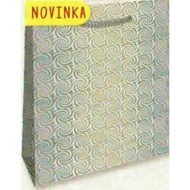 Nekupto Dárková papírová taška velká 32 x 26 x 13 cm Stříbrná hologramová 123 02 THL