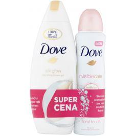 Dove Silk Glow sprchový gel 250 ml + Invisible Care Floral Touch antiperspirant deodorant sprej pro ženy 150 ml, duopack