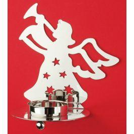 Kovový svícen stříbrný anděl s trubkou, na čajovou svíčku 12 cm