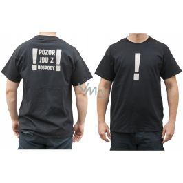 Bohemia Gifts Originální tričko s reflexním potiskem Pozor, jdu z hospody! velikost L
