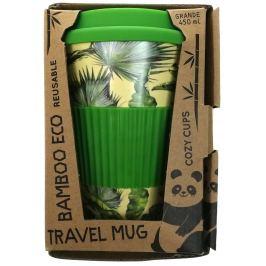 Cozy Time Bamboo Eco Tropical Leaves bambusový ekologický termohrnek + silikonové víčko světle zelený 450 ml