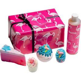 Bomb Cosmetics Plameňák - Lets Flamingle balistik 160 g + špalíček 2x50 g + sprchový gel 300 ml + mýdlo 100 g, kosmetická sada
