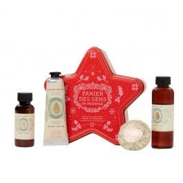 Panier des Sens Mandle sprchový gel 70 ml + tělové mléko 40 ml + krém na ruce 30 ml + mýdlo 25 g + krabička ve tvaru hvězdy, kosmetická sada