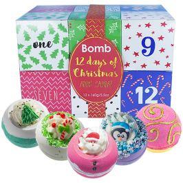 Bomb Cosmetics 12 dnů do Vánoc Adventní kalendář 12 svátečních dnů mix balistiků s vánoční tématikou 12 x 160 g, kosmetická sada