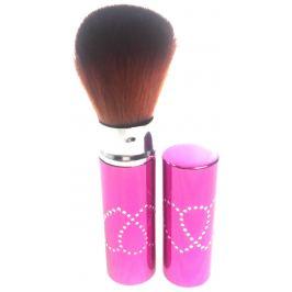 Kosmetický štětec na pudr s krytkou růžový 11 cm 30450-06