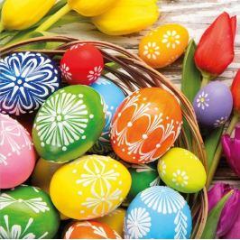 Aha Velikonoční papírové ubrousky ošatka, barevné vajíčka, tulipán 3 vrstvé 33 x 33 cm 20 kusů