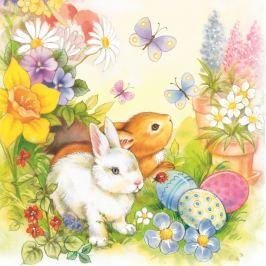 Aha Velikonoční papírové ubrousky dva zajíčci, motýlci, vajíčka, kytičky 3 vrstvé 33 x 33 cm 20 kusů