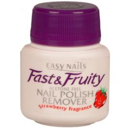 Easy Nails Fast & Fruity odlakovač na nehty s houbičkou Jahoda 50 ml