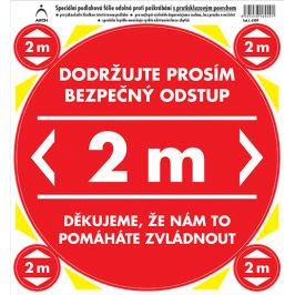 Arch Bezpečnostní a informační piktogramy Polep na podlahu Bezpečný odstup 2 m, červený 21 x 23 cm