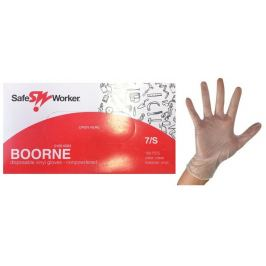 Safe Worker Boorne Rukavice vyšetřovací, vinyl, nepudrované, nesterilní, velikost S, box 100 kusů