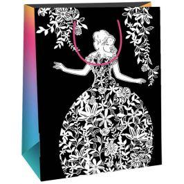 Ditipo Dárková papírová taška k vymalování střední bílá, černá bílá dáma 22 x 10 x 29 cm Kreativ 40