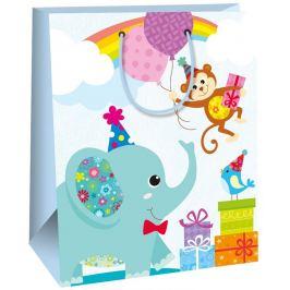 Ditipo Dárková papírová taška velká pro děti modrá, slon 26,4 x 13,6 x 32,7 cm AB