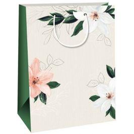 Ditipo Dárková papírová taška Kraft béžová, bílé lilie 27 x 12 x 37 cm