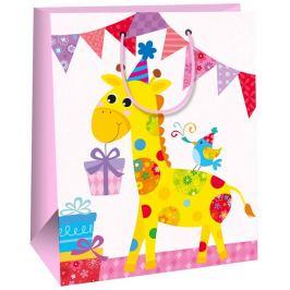 Ditipo Dárková papírová taška velká pro děti růžová, žirafa 26,4 x 13,6 x 32,7 cm AB
