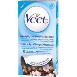 Veet A vitamín E a mandlový olej voskové pásky pro citlivou pokožku 12 + 2 kusy