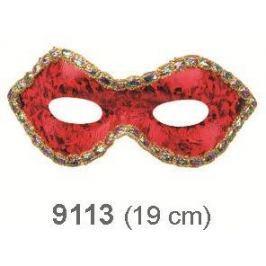 Škraboška plesová červená hologramová 19 cm vhodná pro dospělé