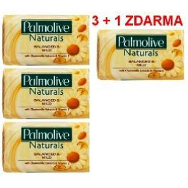 Palmolive Naturals Balanced & Mild tuhé toaletní mýdlo 3 + 1 kus 90 g