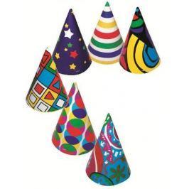 Kloboučky různobarevný potisk, karnevalový 6 kusů