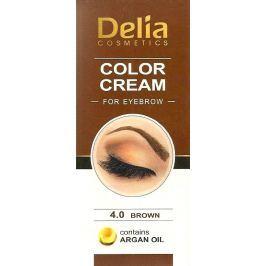 Delia Color Cream barvící krém na obočí s arganovým olejem 4.0 Brown 15 ml + 15 ml Barvy na řasy a obočí