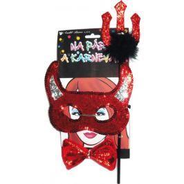 Čertovská maska s rohy, vidle, motýlek souprava