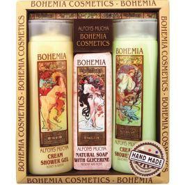 Bohemia Gifts & Cosmetics Alfons Mucha Med a obilí krémový sprchový gel 200 ml + toaletní mýdlo s glycerinem s extrakty z listů oliv a citrusu 125 g + oliva a citrusy krémový sprchový gel 200 ml,kosmetická sada Sprchové gely