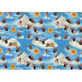 Nekupto Balicí papír vánoční pro děti Krtekček světle modrá 70 x 200 cm 1 role Balící papíry