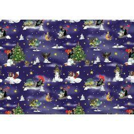 Nekupto Balící papír vánoční pro děti Krteček tmavě modrá 70 x 200 cm 1 role