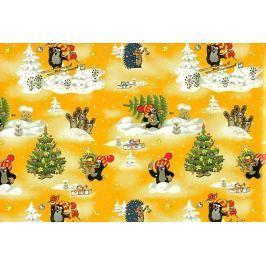 Nekupto Balící papír vánoční pro děti Krteček žlutý 70 x 200 cm 1 role
