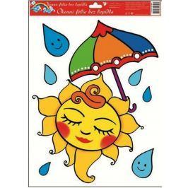 Room Decor Okenní fólie bez lepidla sluníčko s deštníkem 42 x 30 cm 1 kus Drogerie