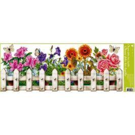 Room Decor Okenní fólie bez lepidla truhlíkové květiny plotek 60 x 22, cm Drogerie
