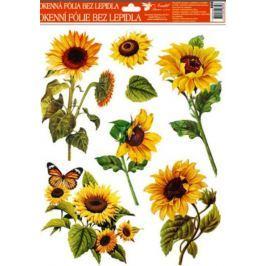 Room Decor Okenní fólie bez lepidla slunečnice oranžový motýl 42 x 30 cm 1 kus Drogerie