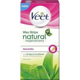 Veet Natural Inspirations Wax Strips voskové pásky normální a suchá pokožka 12 kusů + ubrousky Pefect Finish 2 kusy