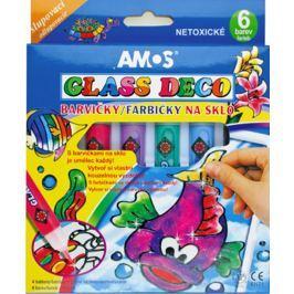 Amos Barvy na sklo slupovací sada 5 tub barev 10 ml + 1 konturu , 4 šablony + 2 fólie na malování Speciální výtvarné barvy