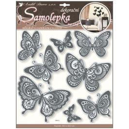 Room Decor Samolepky na zeď motýli se zrcadlovým efektem a černou glitrovou konturou 40 x 31 cm 1 arch Drogerie