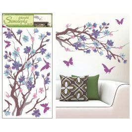 Room Decor Samolepky na zeď purpurovo-fialová větvička 69 x 32 cm 1 kus