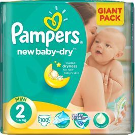 Pampers New Baby Dry 2 Mini 3-6 kg plenkové kalhotky 100 kusů Pleny