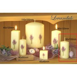 Lima Květina Levandule vonná svíčka slonová kost s obtiskem levandule válec 50 x 100 mm 1 kus