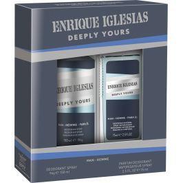 Enrique Iglesias Deeply Yours Man parfémovaný deodorant sklo 75 ml + deodorant sprej 150 ml, kosmetická sada