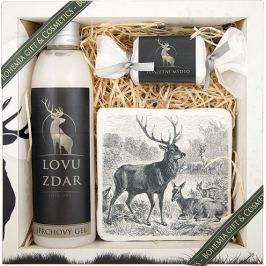 Bohemia Gifts & Cosmetics Pro myslivce sprchový gel 200 ml + ručně vyráběné mýdlo 30 g + dekorační kachlík s potiskem 10 x 10 cm, kosmetická sada