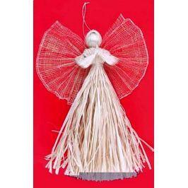 Anděl z palmového šustí a křídla se zlatými vlákny 33 cm