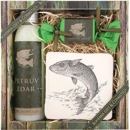 Bohemia Gifts & Cosmetics Pro rybáře sprchový gel 200 ml + ručně vyráběné mýdlo 30 g + dekorační kachlík s potiskem 10 x 10 cm, kosmetická sada