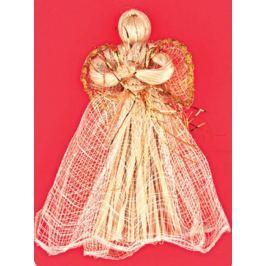 Anděl zlatý dekor se zvlněnou sukní 17 cm