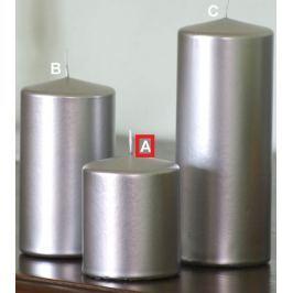 Lima Metal Serie svíčka stříbrná válec 80 x 100 mm 1 kus