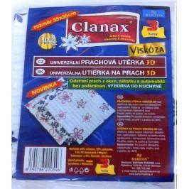 Clanax Univerzální prachová utěrka 3D viskóza netkaná Vzor květiny 35 x 35 cm 3 kusy