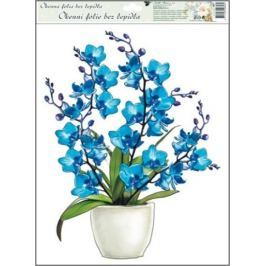 Room Decor Okenní fólie bez lepidla orchideje modrá 42 x 30 cm