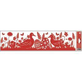 Room Decor Okenní fólie bez lepidla pruh velikonoční siluety červené 2 husy 45 x 12 cm