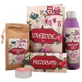 Bohemia Gifts & Cosmetics Lovebook sprchový gel 200 ml +sůl do koupele 150 g + prezervativ 1 kus + svíčka 1 kus, kosmetická sada